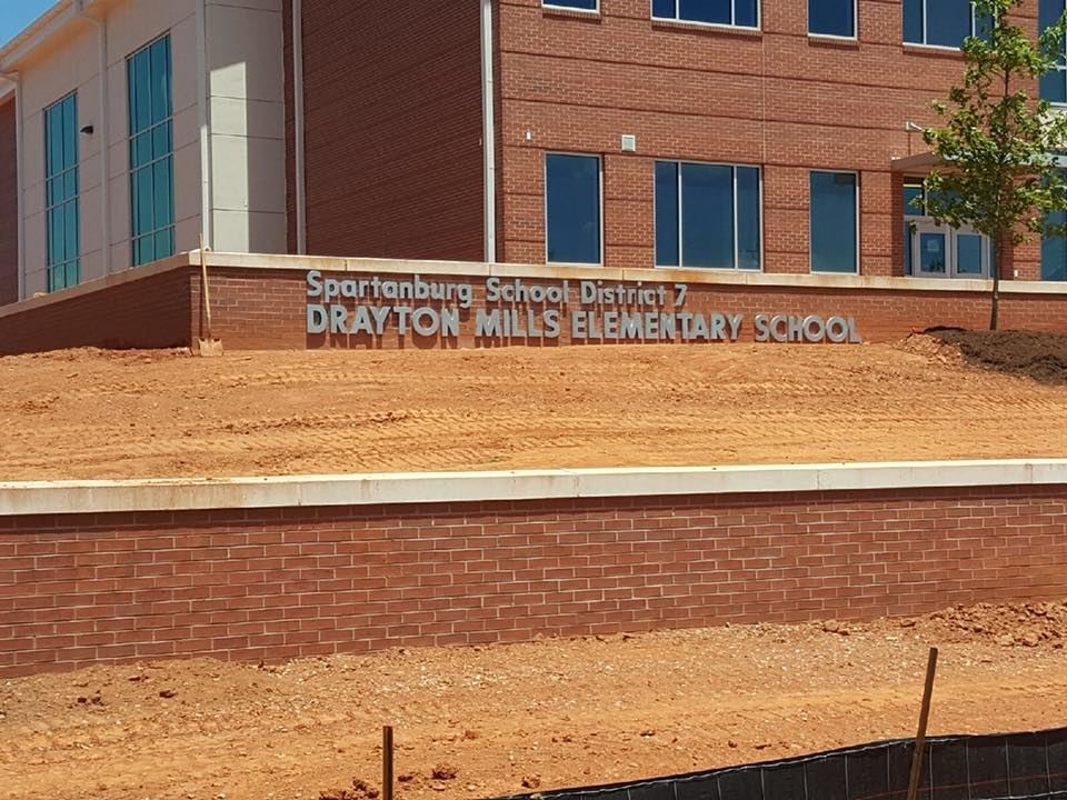 Exterior of School showing Name