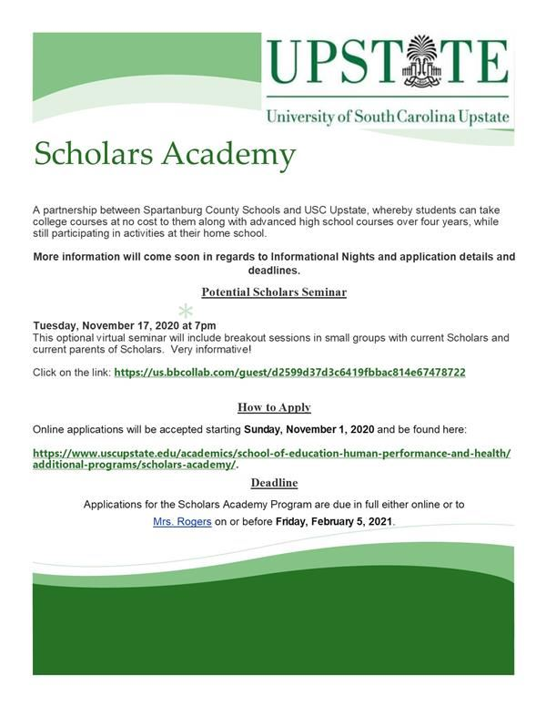 Announcement about Scholar's Academy