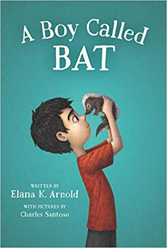 book cover of A Boy Called Bat boy holding a skunk
