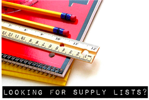 notebook, ruler, pencils and text that reads looking for supply lists