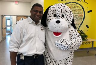 Dr. Booker with Drayton Elementary mascot