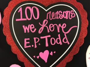 heart with 100 reasons we love todd written inside