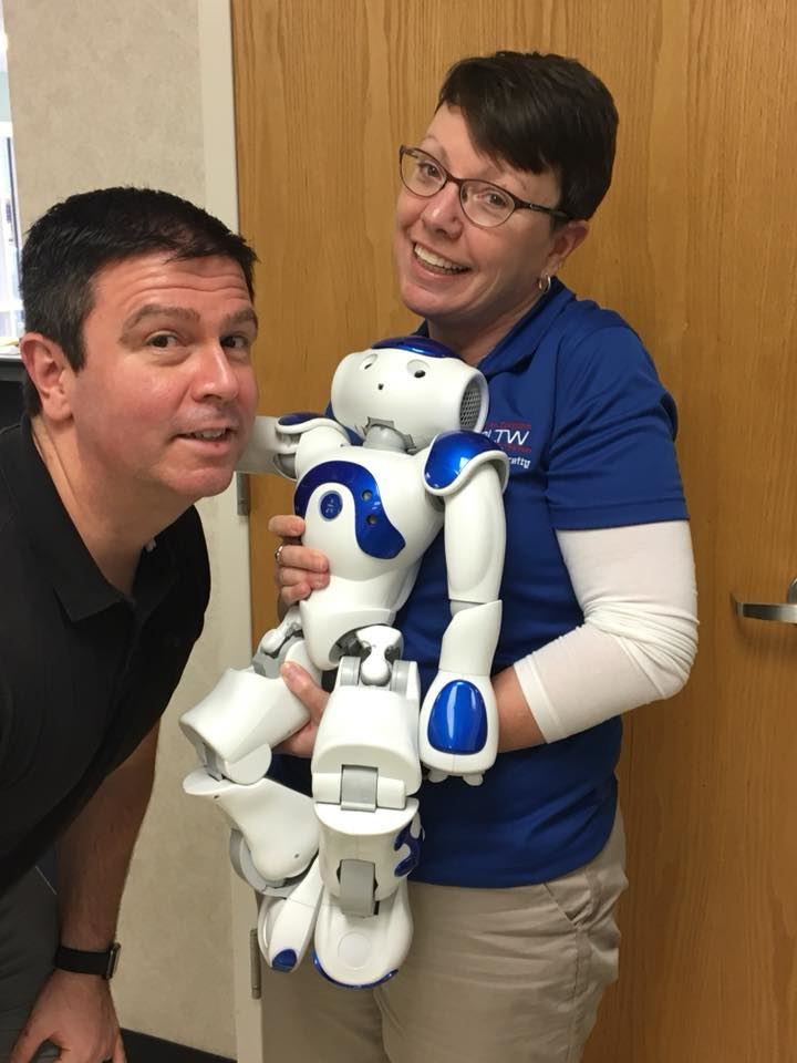 Project Lead The Way Robot and teachers