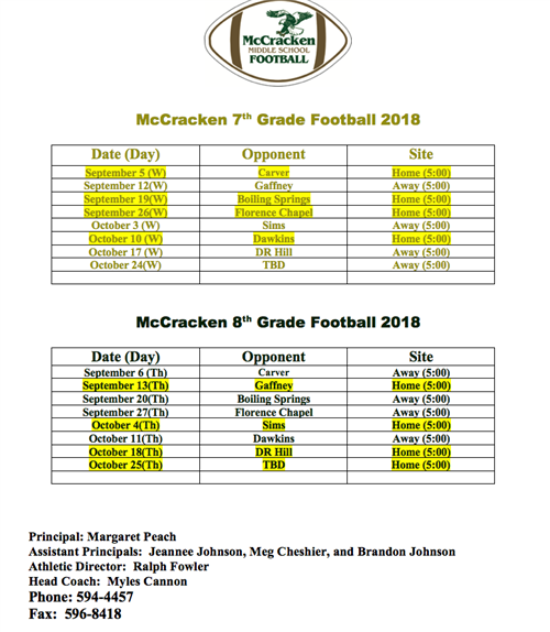 7th and 8th McCracken Football Schedule
