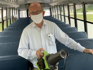 electrostatic sprayer on bus