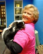 Librarian holding skunk